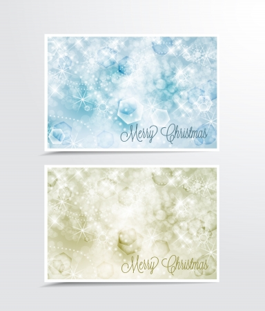 Two Christmas cards with snow Stock Vector - 16123474