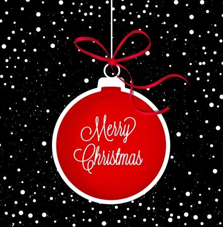 navidad elegante: Navidad en negro y fondo blanco con rojo Bola de Navidad Vectores