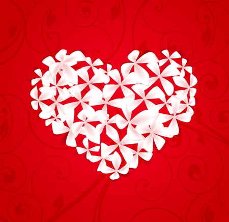 Beautiful  floral heart on a red  background Stock Vector - 16383427