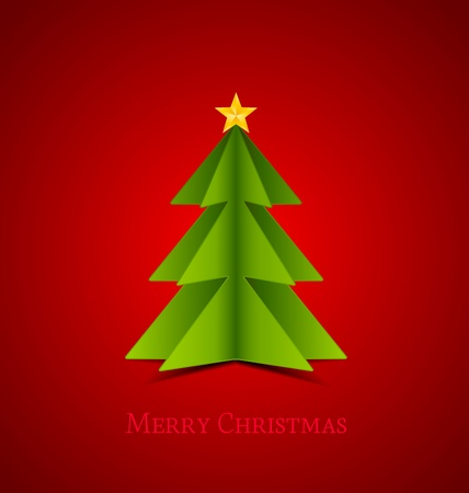 Christmas tree made of paper,  illustration Stock Vector - 16383422
