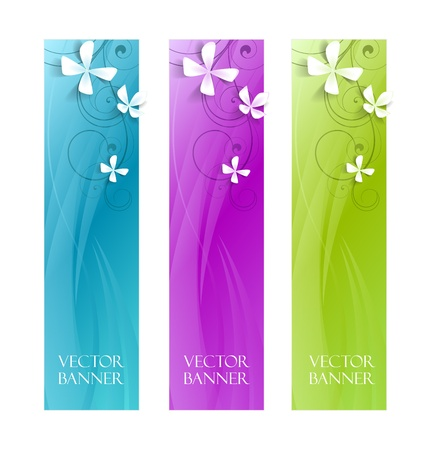 abstract  floral banners , colorful background Stock Vector - 16383452