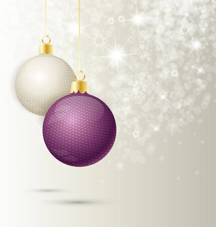 Background with Christmas ball and snowflakes, illustration   Vector