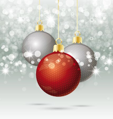 Background with Christmas ball and snowflakes Vector