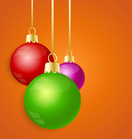 Christmas balls on an orange background Stock Vector - 16541481