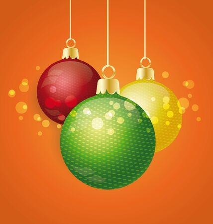 Christmas balls on an orange background Stock Vector - 16541484