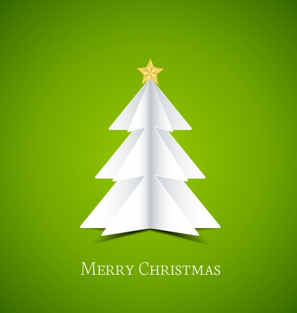 Christmas tree made of paper,  illustration Stock Vector - 16541478