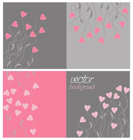 set of colorful background with hearts Stock Vector - 16658746
