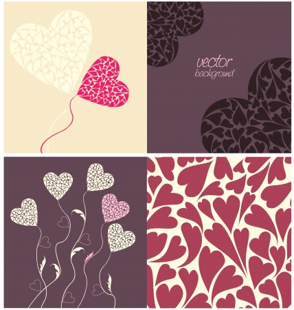 set of colorful background with hearts Stock Vector - 16658744