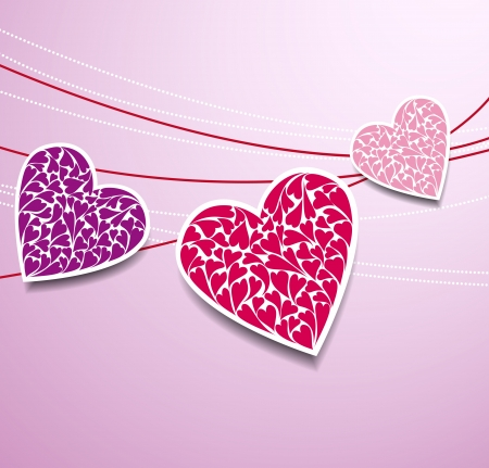 Color sticker paper hearts with shadow