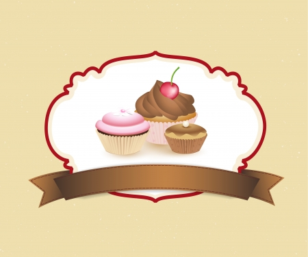 cupcake card in vintage style a retro 4 Stock Vector - 16700732