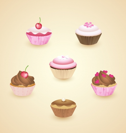 Set of delicious cupcakes with different toppings Stock Vector - 16700725