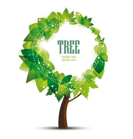 Tree in the middle of a place for text on white background Vector