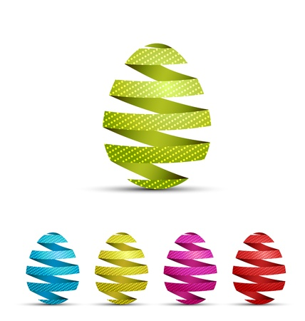 set of colored eggs made of ribbons Vector