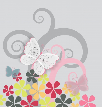 colorful flowers and butterflies on gray background Stock Vector - 17170358