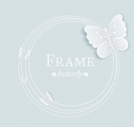 white butterfly: frame with butterflies on a gray background