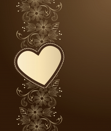 brown swirl: Decoration heart on a brown background Illustration