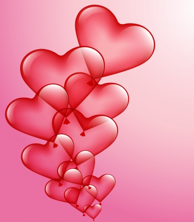 romance image: red heart-balloons on a pink background