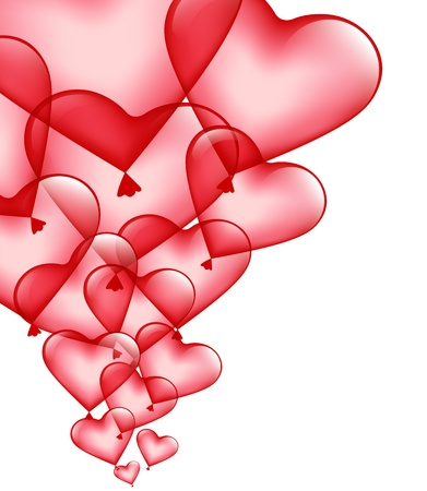 red heart-balloons on a white background Vector