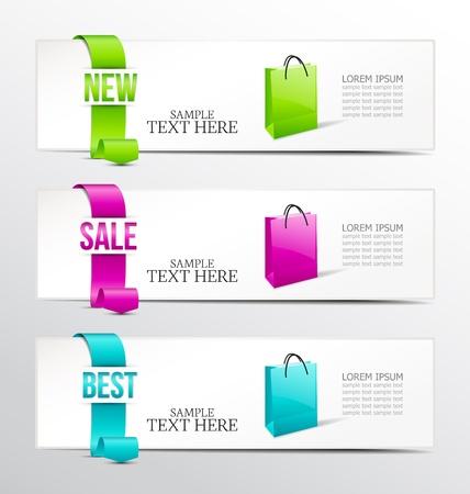 description: banners of ribbon for product description