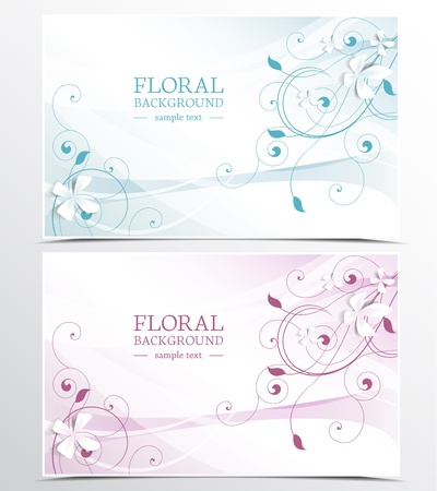 two background with floral design Stock Vector - 17337496