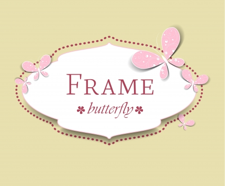 frame with butterflies on a light brown background Vector