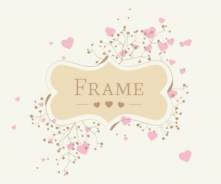 romantic background with floral frame and heart Stock Vector - 17360161