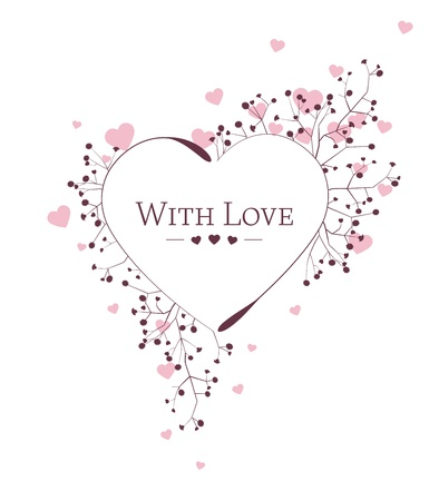 floral heart on white background,  illustration Vector
