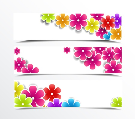 Illustration of set of banner with flowers  Vector
