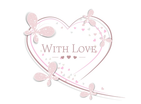 Decoration heart with pink butterflies Vector