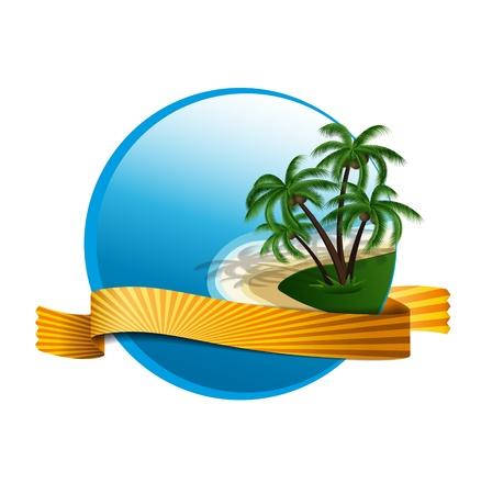 logo de vacances d'été avec des palmiers et insulaires
