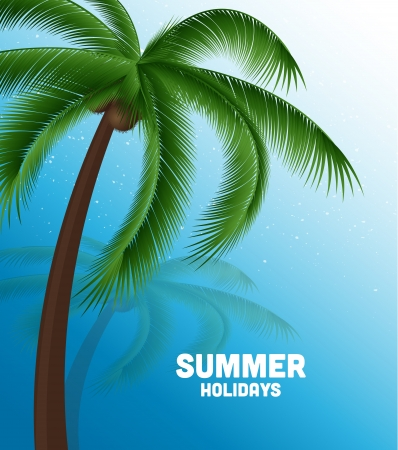 summer holiday background with sea and palm Vector