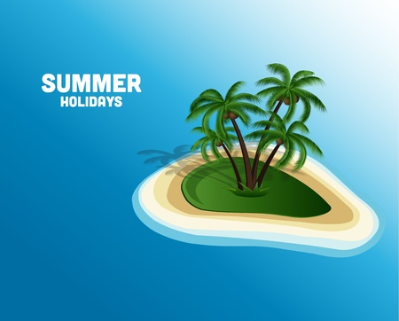 summer holiday background and island with palm trees Vector