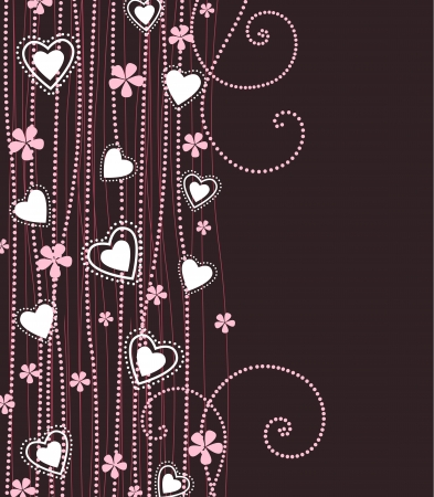 hearts with pink flowers on a violet background