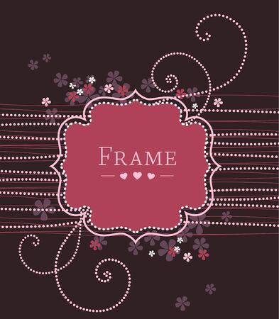 frame with flowers on a violet background Stock Vector - 17576475