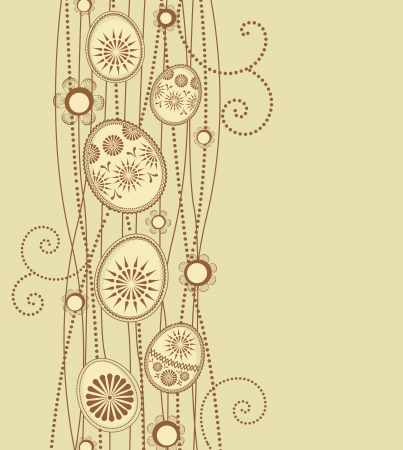 brown:  Easter eggs decoration on light brown background Illustration