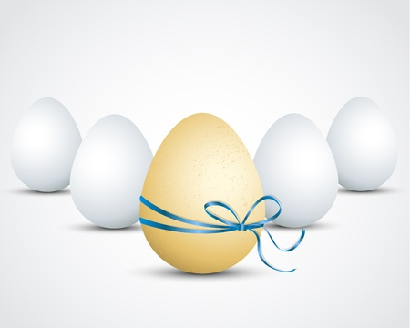 Brown egg with ribbon on background Stock Vector - 17757464