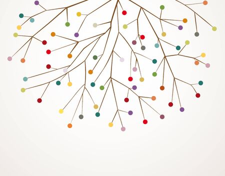 Silhouette branches with colored dots Stock Vector - 17757470