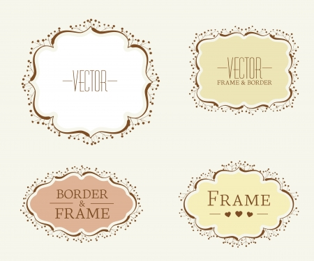 Set of floral vector frames and ornaments