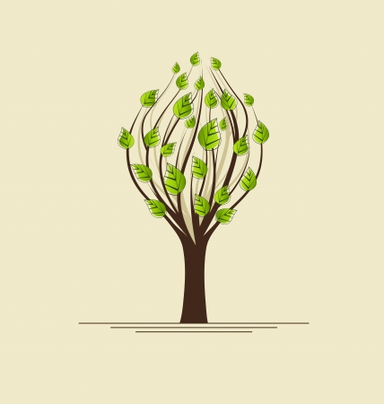 tree with green leaves with place for text Stock Vector - 17858882