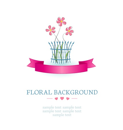 flowers on a white background with place for text Stock Vector - 17991350