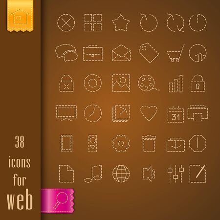 set of icons on a brown fabric Stock Vector - 17991354