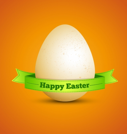 easter egg with ribbon on orange background Stock Vector - 18130242