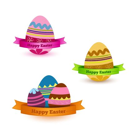 set of colored eggs with ribbon Stock Vector - 18130257
