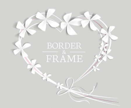 wedding frame: heart with flowers and place for text