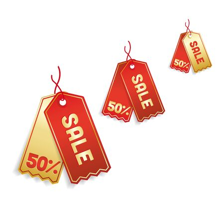 cut price: golden red sale tags