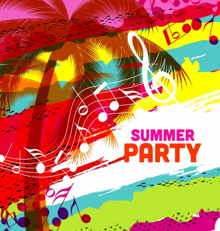 summer party background: Tropical vector design with place for text Illustration