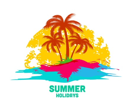 pink tree: summer holiday logo with sea and palms
