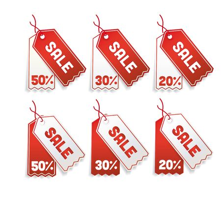 price tags: Red sale tags, 50%, 30%, 20%