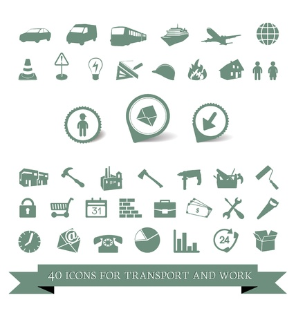 40 icons for travel and work tools Vector