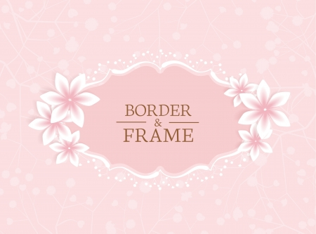 frame with flowers on a pink background Vector